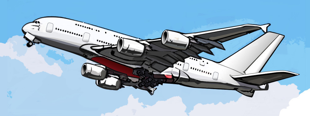 jumbo jet in air with landing gear down