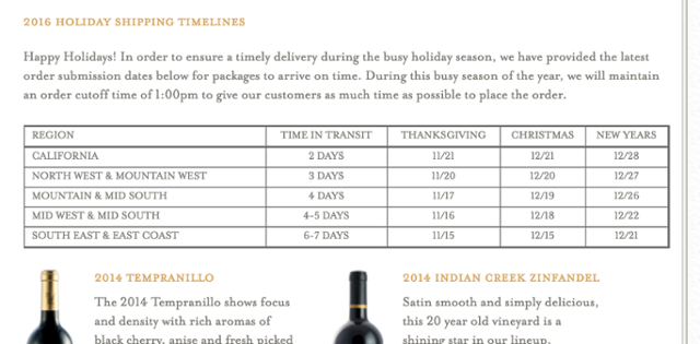 Renwood Winery Holiday Shipping Cutoff Calendar