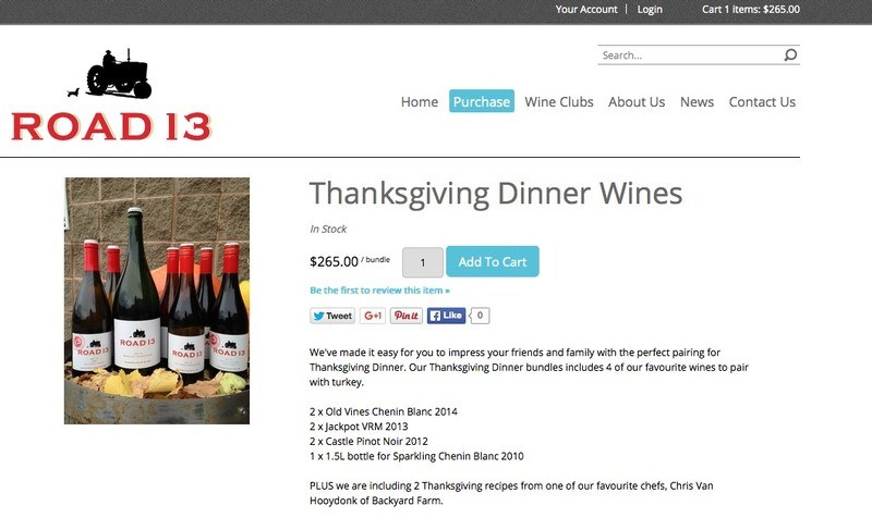 Road 13 Vineyards  Products  Thanksgiving Dinner
