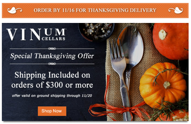 Vinum Cellars Thanksgiving Promo