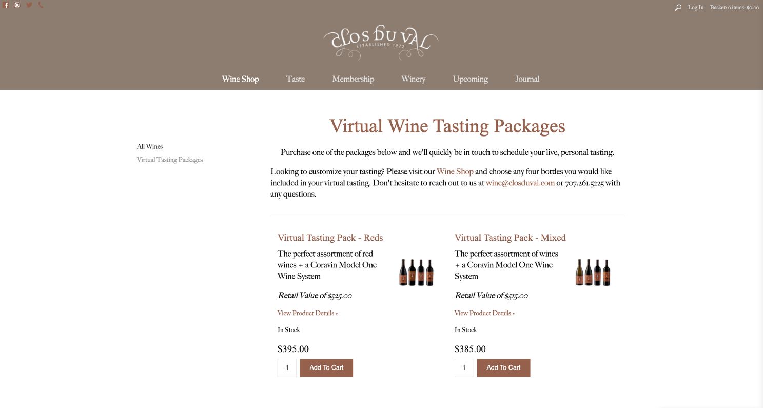 Virtual Tasting Packages