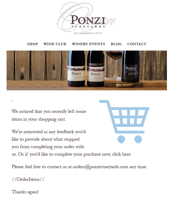 ponzi abandoned cart email in winedirect