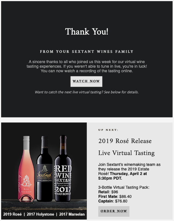 Virtual Tasting Follow Up Email