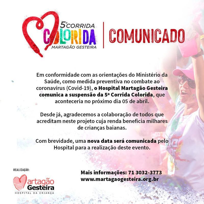 Cancelamento da 5ª Corrida do Martagão Gesteira