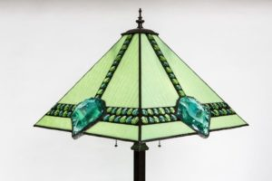 Dalle de Verre Standing Lamp close up of shade Jan's Glass by the sea