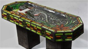 Mosaic West Coast Garden Bench - Jan's Glass by the Sea