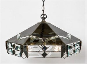 Stained glass dark grey and bevel chandelier Jan's Glass by the Sea