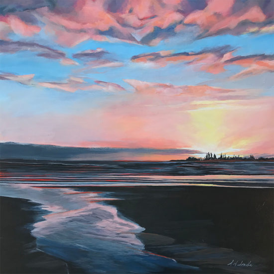 Tofino_Sunset_24 x 24_acrylic_on_canvas_sharon_Lalonde