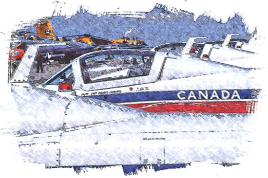 A digitally remastered representation of the Canadian Forces Snowbirds Demontstration aircraft on the ground at Comox Valley Airport.