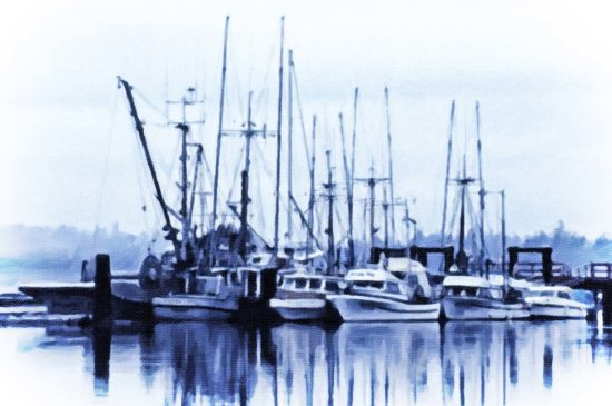 Morning mist is clearing at the fishers' dock.