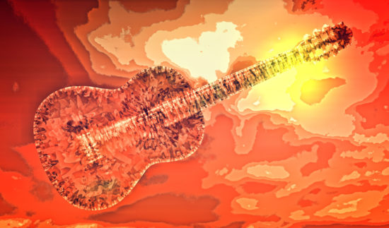 One of five images with guitars: the same guitar in all, but totally different in digital design