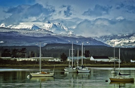 The familiar Comox Glacier overlooks Goose Spit & dominates the tranquil scenery of the Comox Valley.