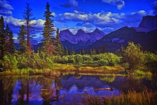 Painterly version of the Three Sisters peaks near Canmore, Alberta in the Canadian Rockies, known individually as Big Sister, Middle Sister, and Little Sister