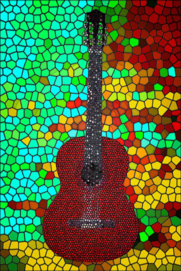 One of several images with guitars: the same guitar in all, but totally different in digital design.