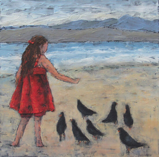 StMarie,F,Girl & Birds on Beach,16x16,Acrylic