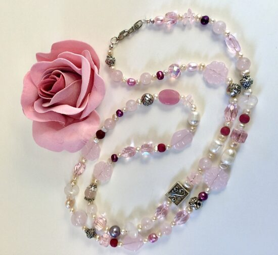 BellaStyle Jewelry-Cindy Monahan Pink Necklace with Rose
