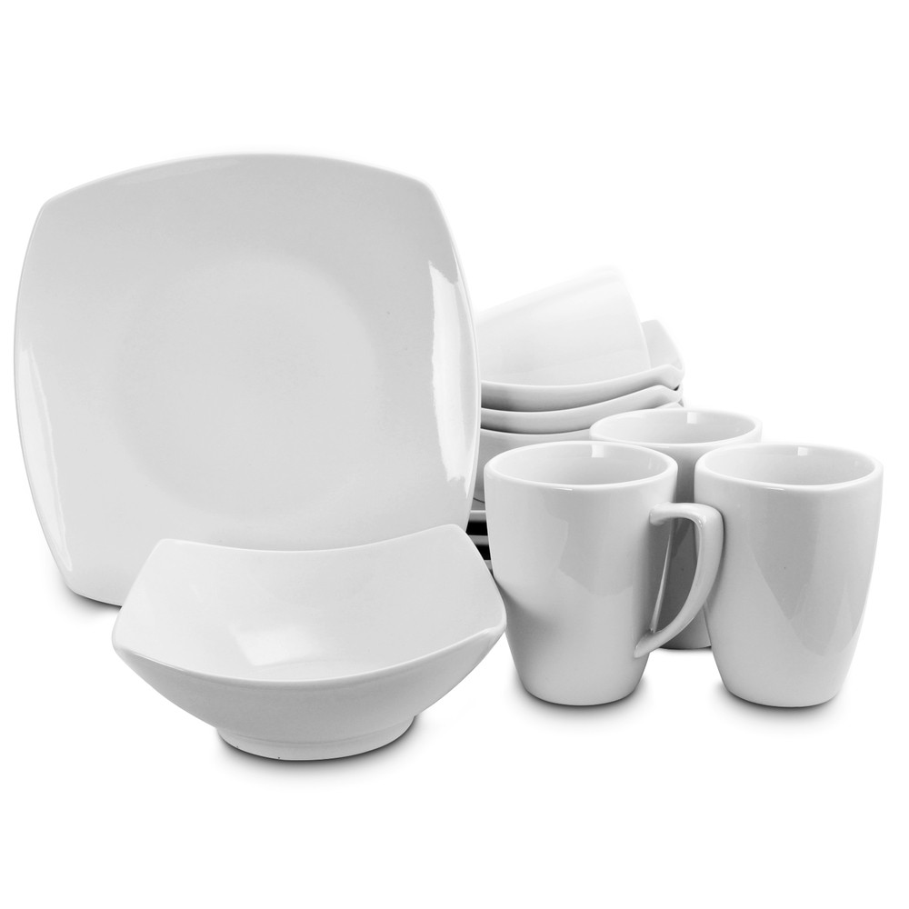 Gibson Home 118325.12 Zen buffetware Carré 12 pièces Dinnerware Set