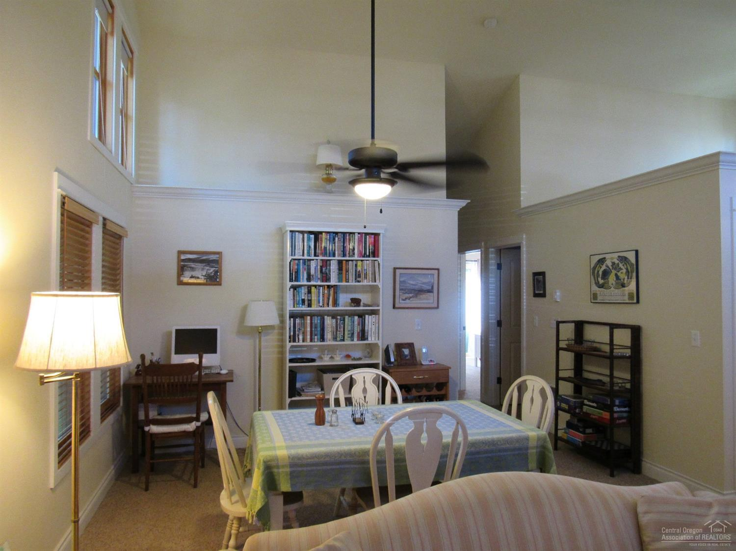 Great room with vaulted ceilings, dining area, liv
