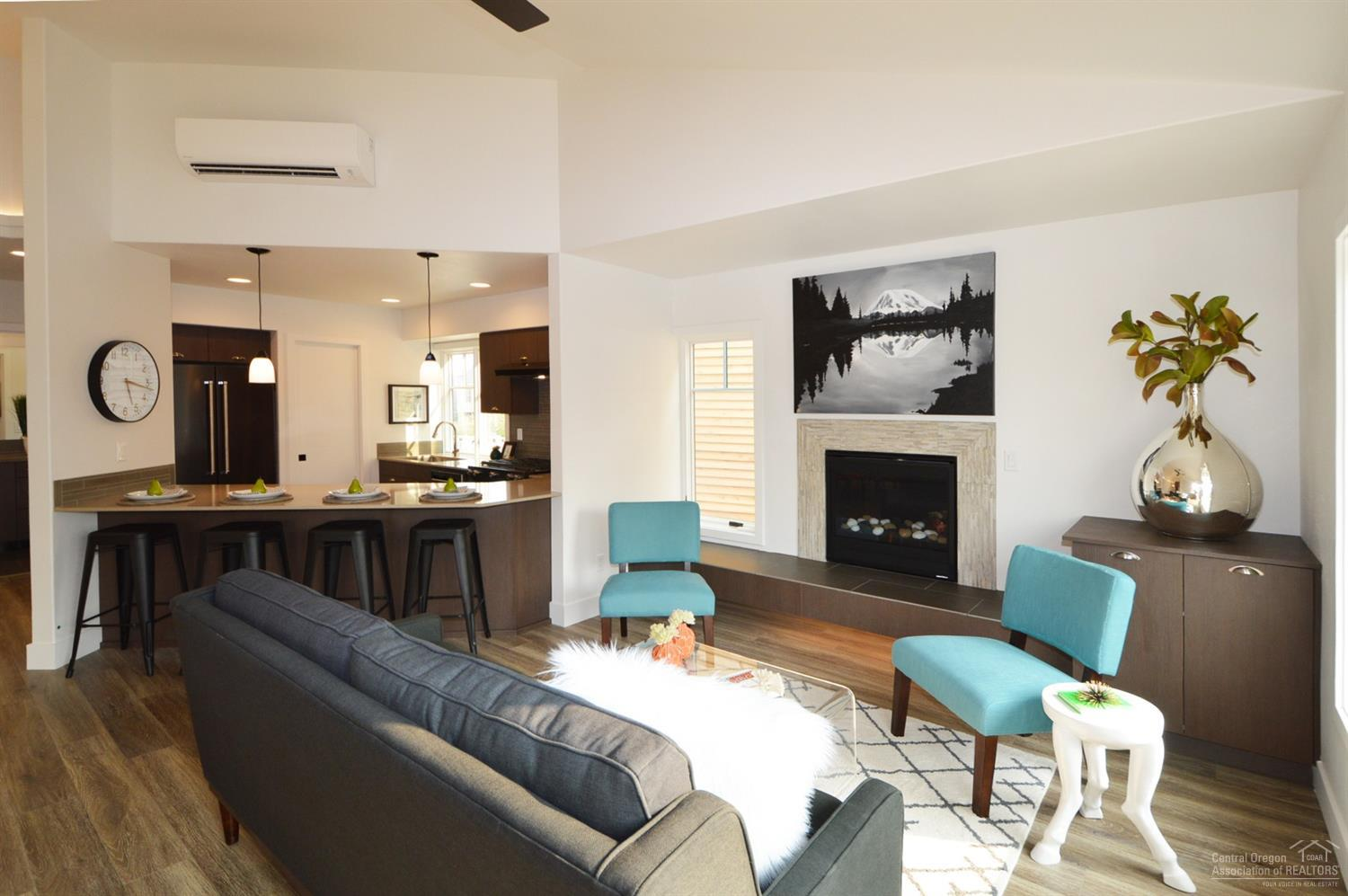 Staged photos of a similar floor plan.