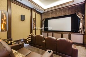 Home theater with capacity for 8 people.
