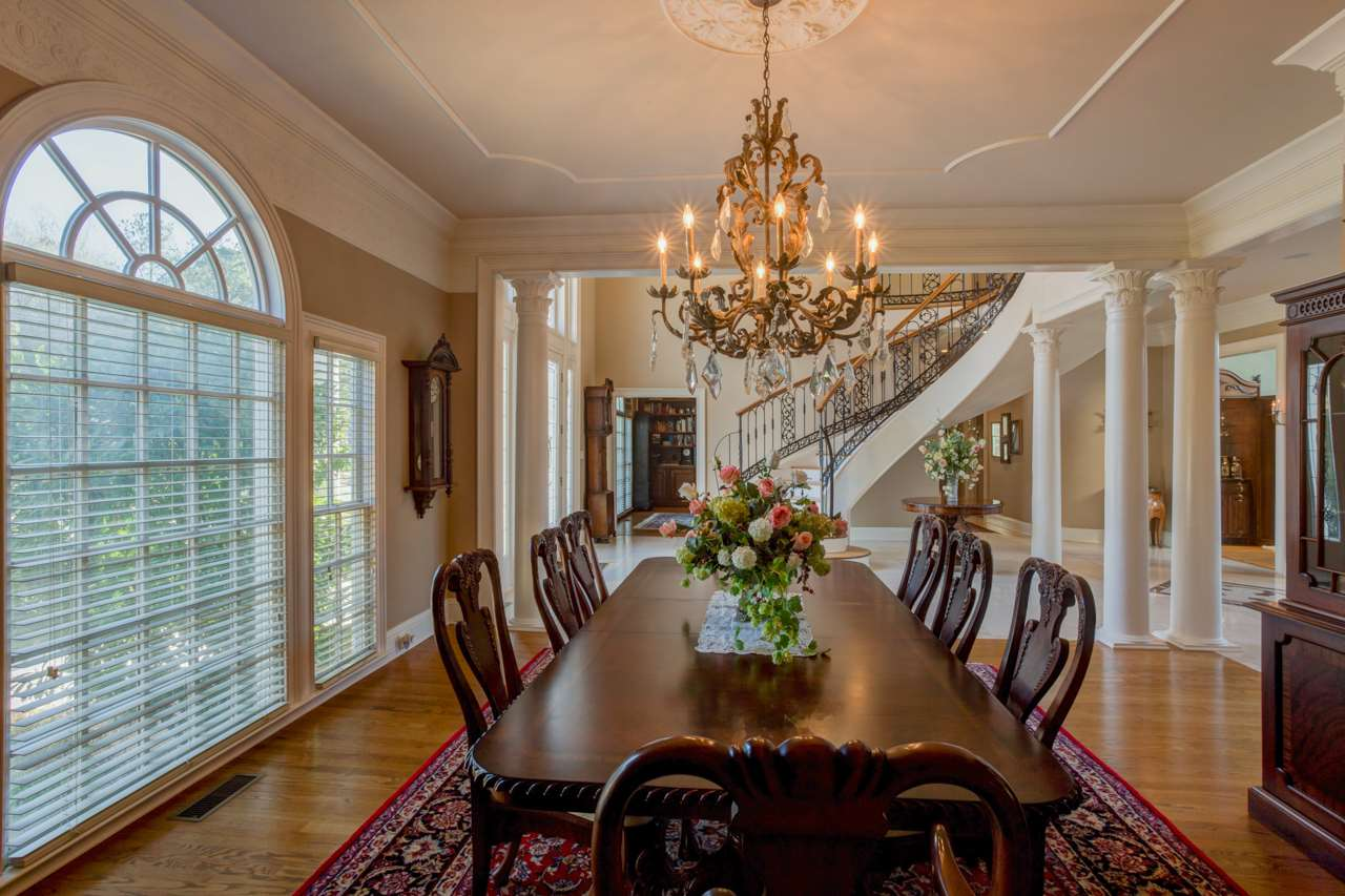 Dining room open to the foyer