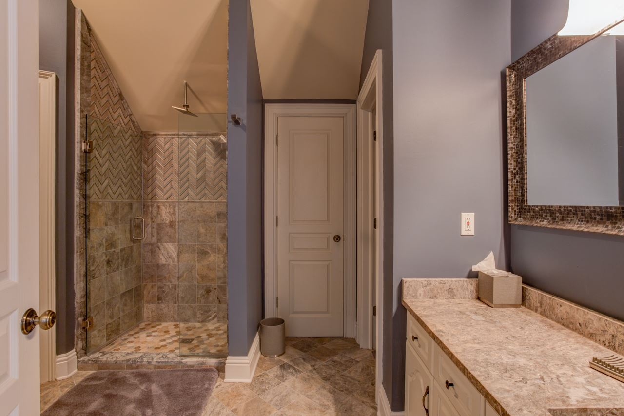 Totally redone bathroom for master bedroom (bedroo