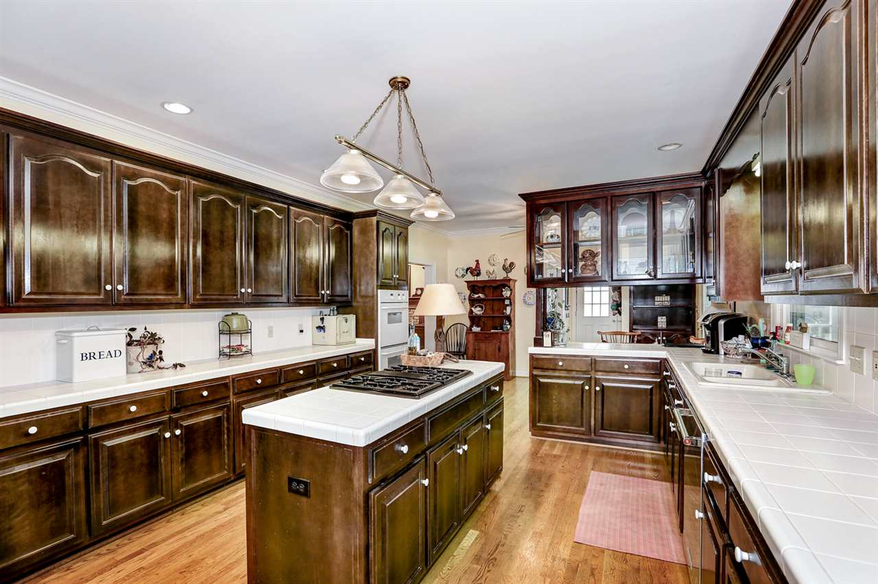 Has lots of cabinetry and counter space, center is
