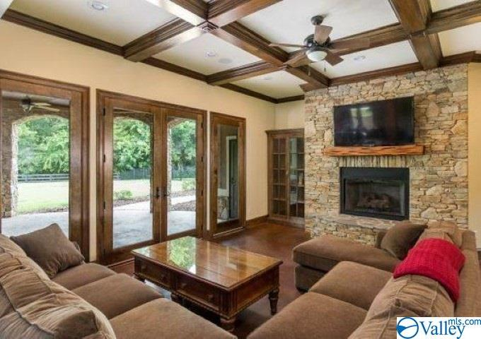 Basement den boasts fireplace and walk out covered