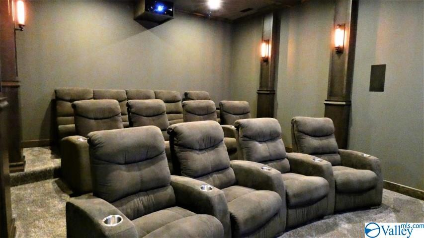 Theater room with recliners, surround sound, theat