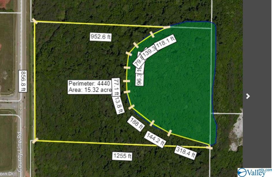 View showing approximate area of the wetland on th