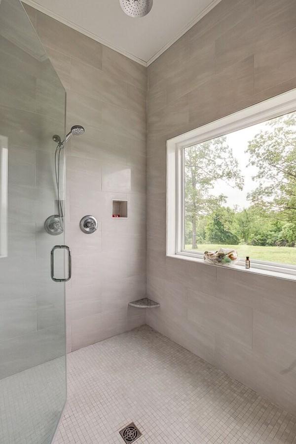 Italian tiled walk-in shower Master Bath