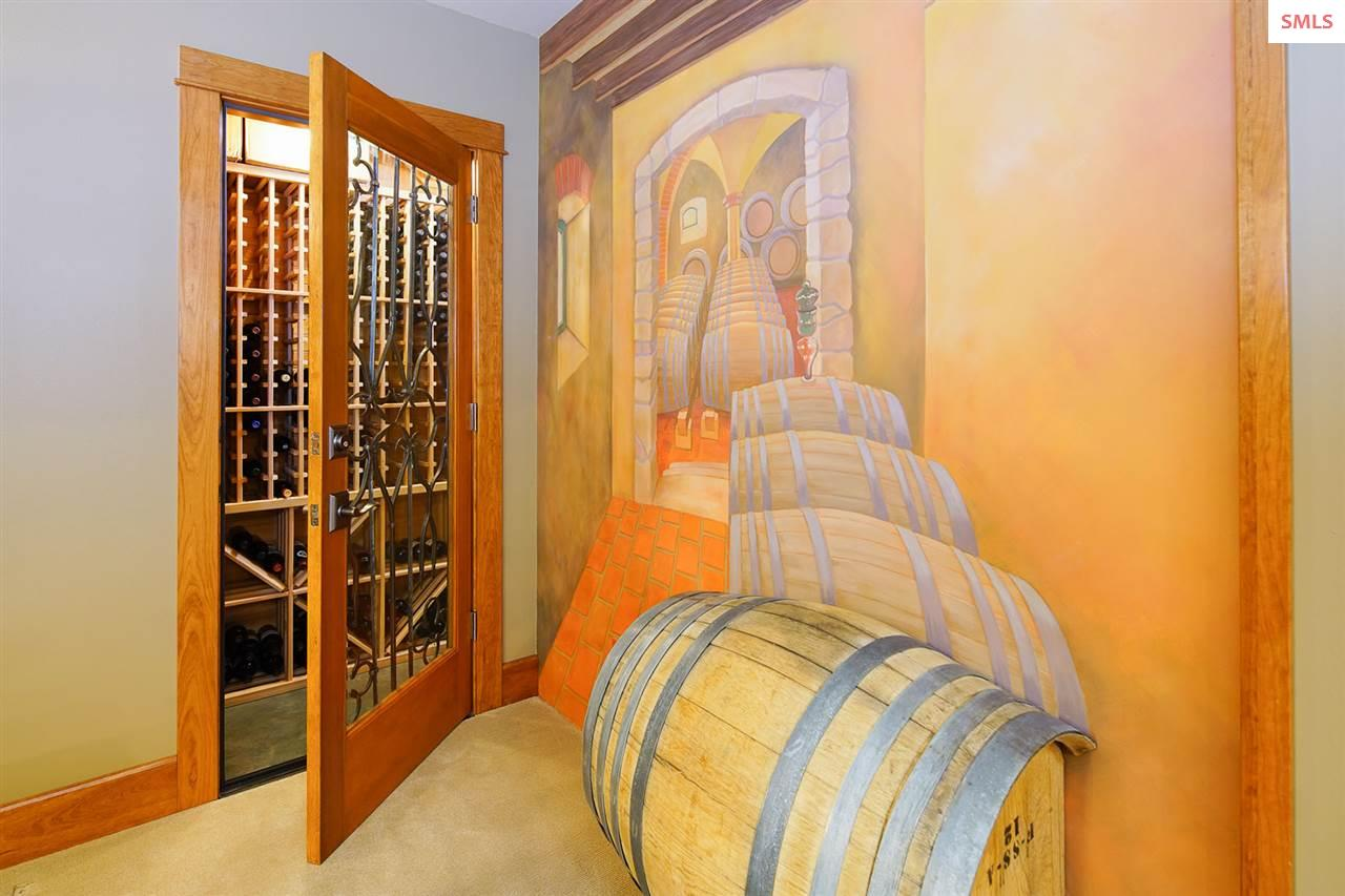 The climate controlled wine room has an approximat