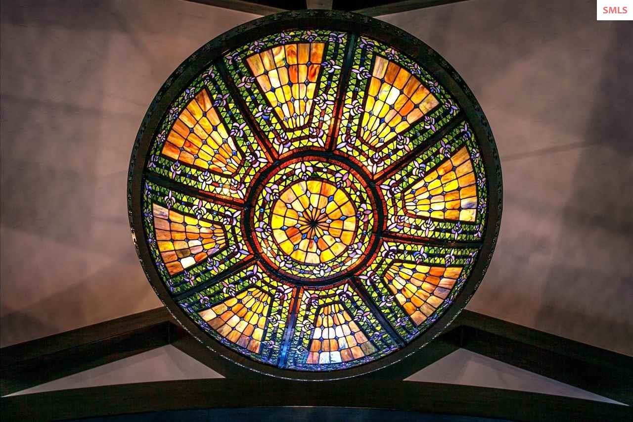 Tiffany Stained Glass Chandelier in Cathedral Ceil