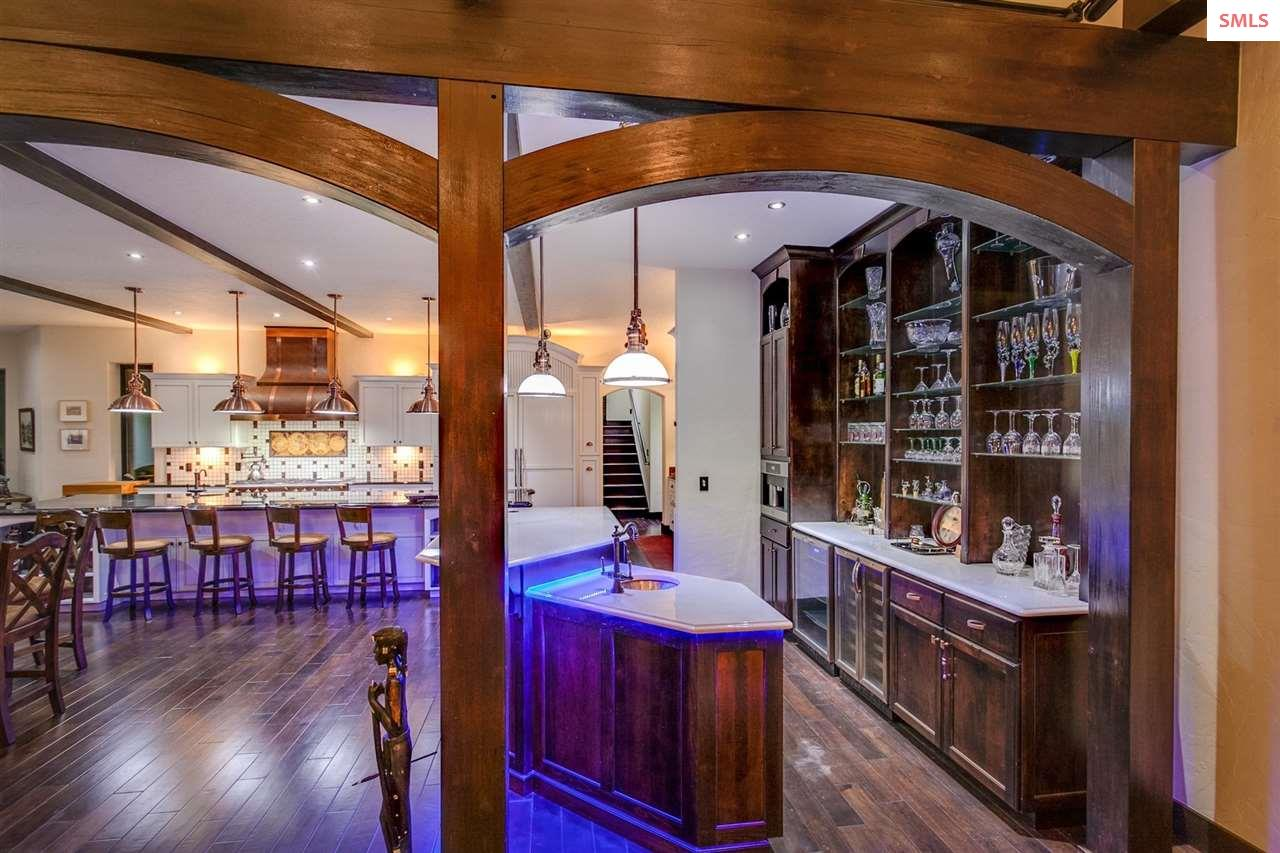 European Wet Bar through Custom Post and Beam Deta