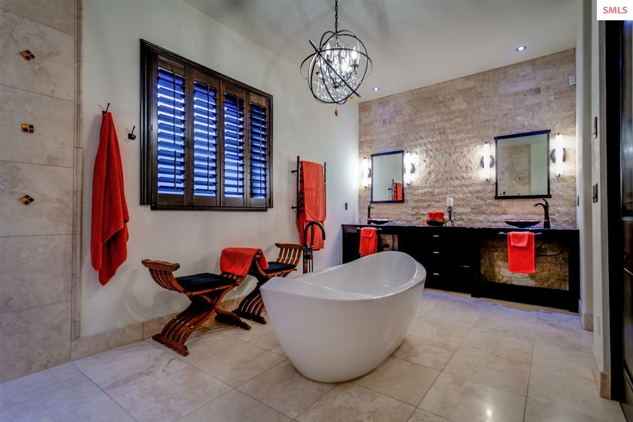 Master Bath with Travertine Tile and Swedish Spa T
