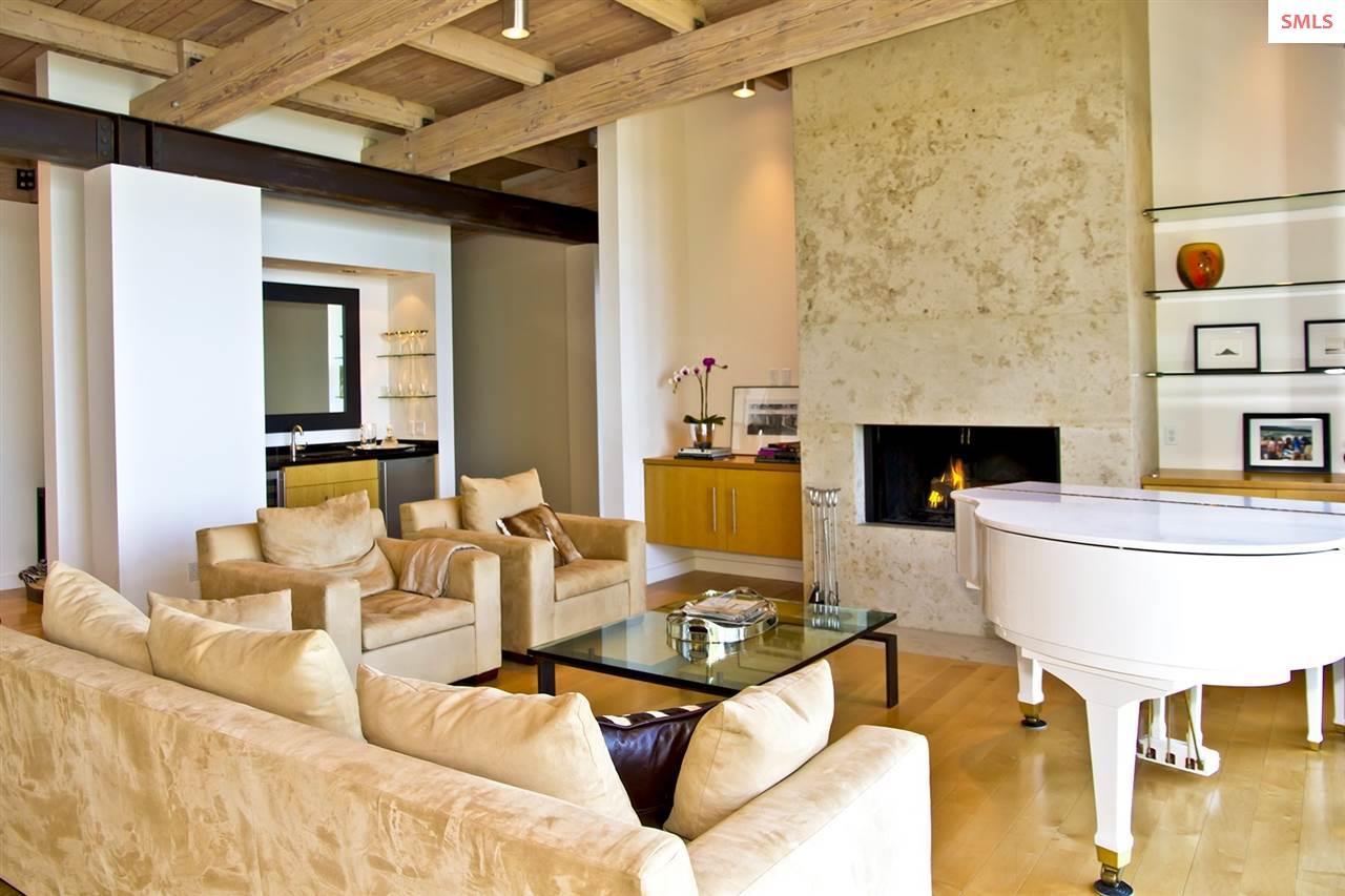 Travertine fireplace