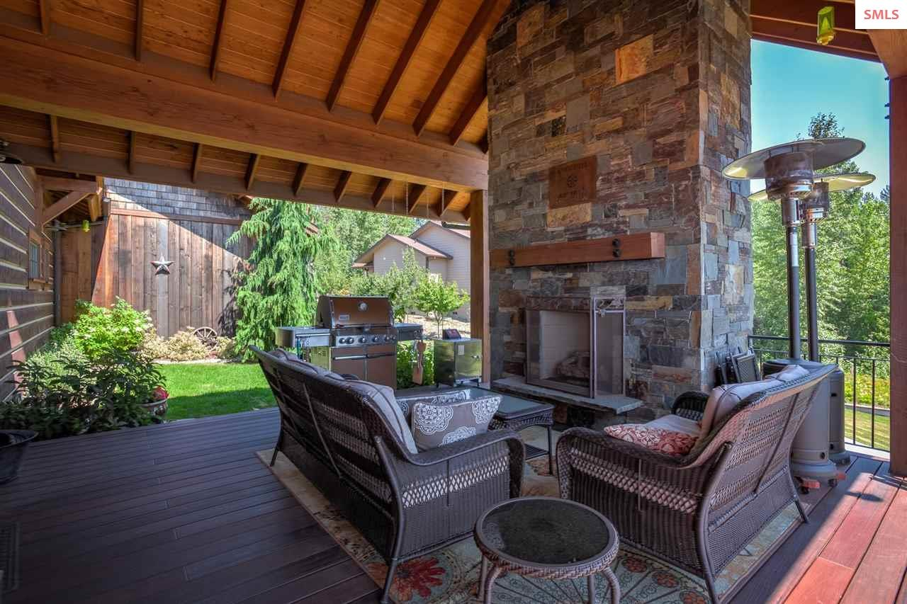 The natural gas fireplace is the focal point of th