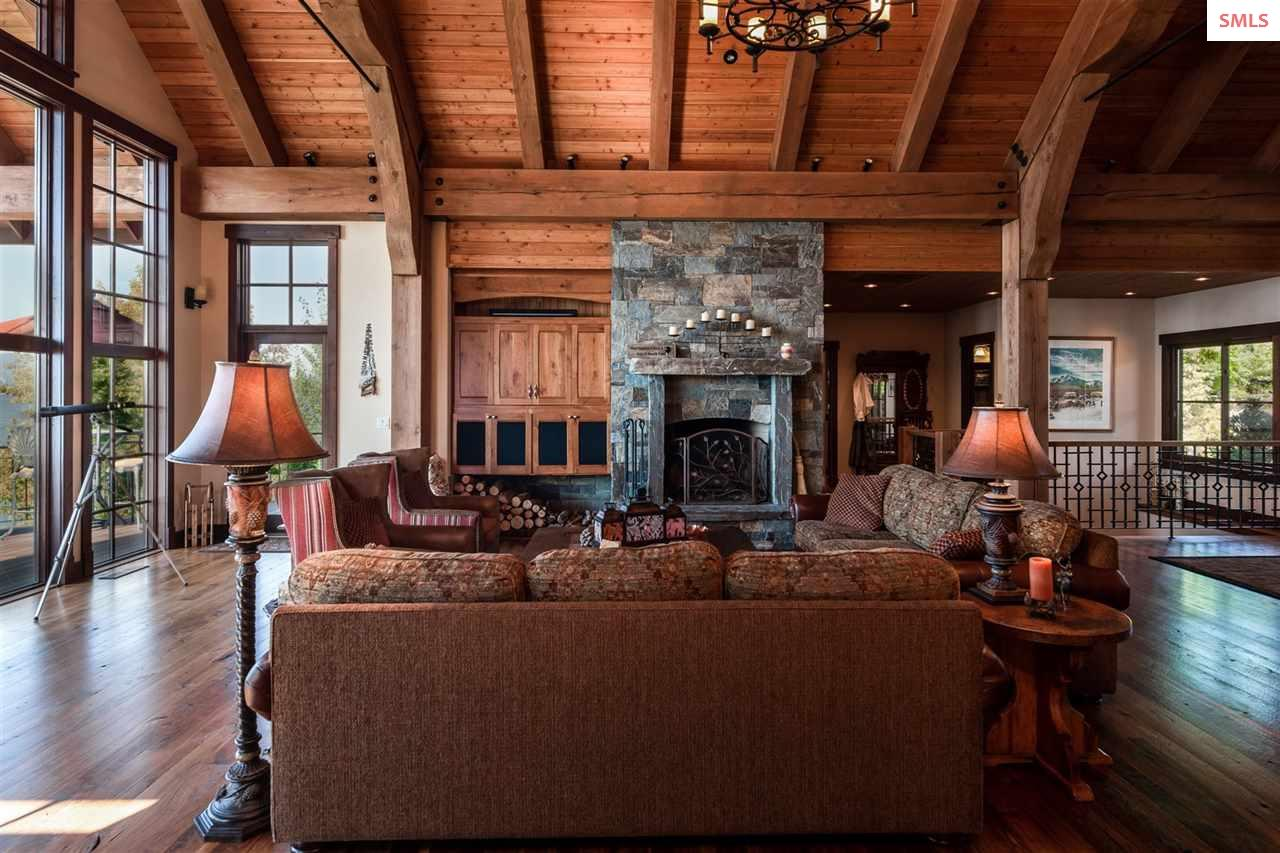 Warmed by the large stone fireplace & window light