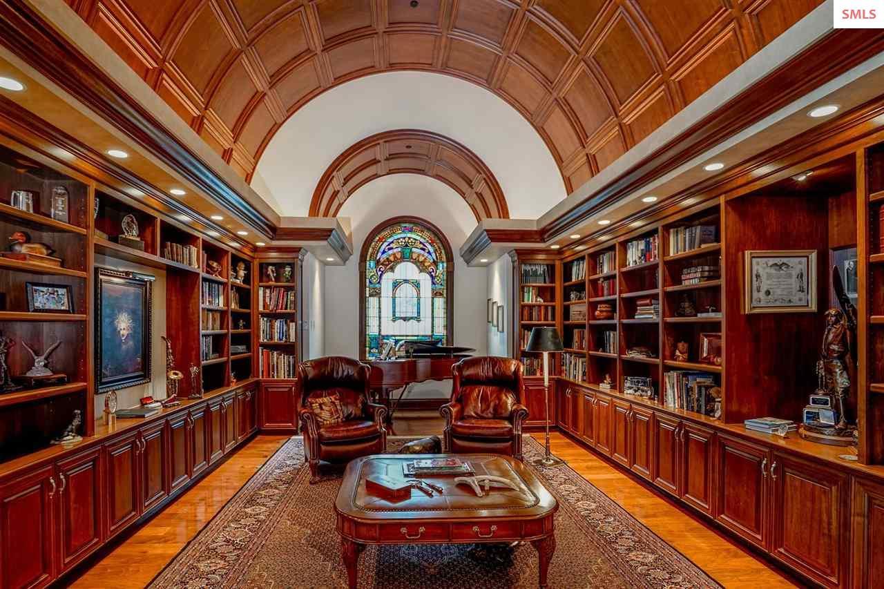The signature black walnut barrel ceiling library