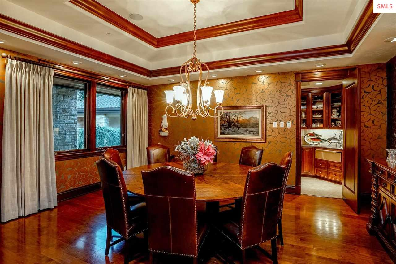 Beveled glass French doors, coffered ceiling, wate