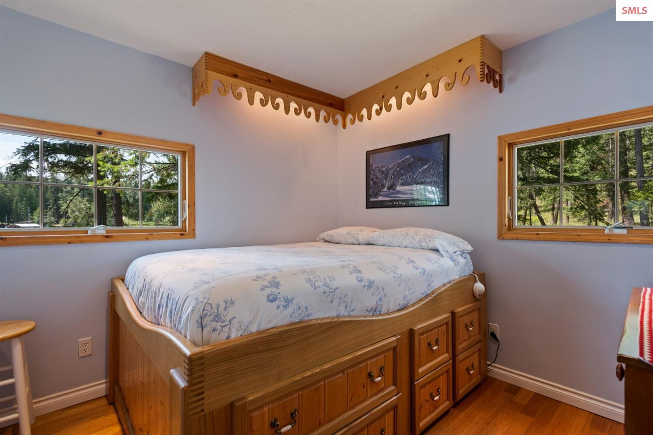 With quaint touches & framed lake views
