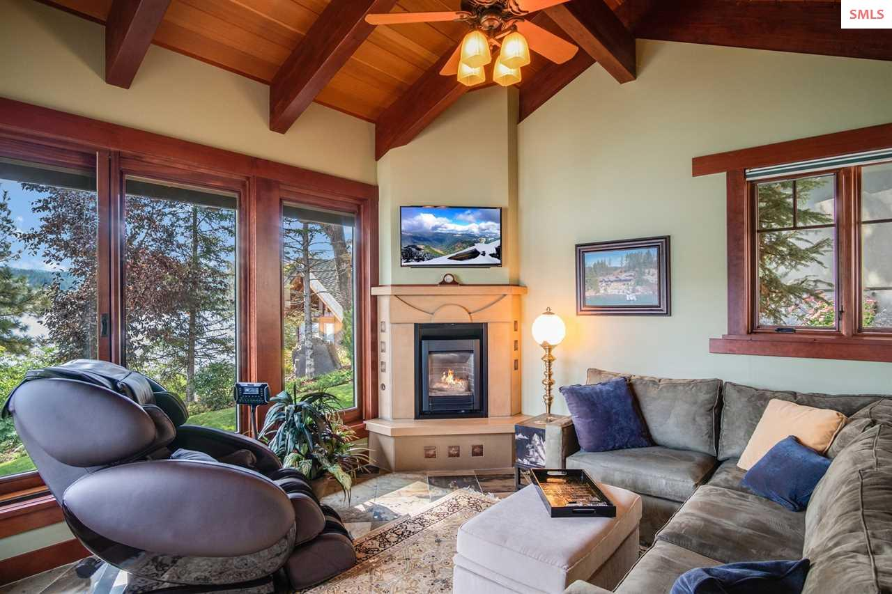 Cozy fireplace beckons on those chilly North Idaho