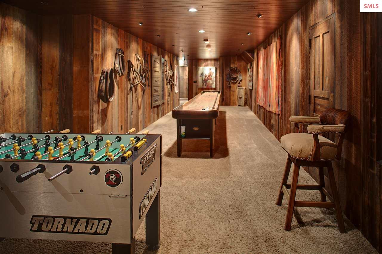 A reconditioned vintage shuffleboard table is the