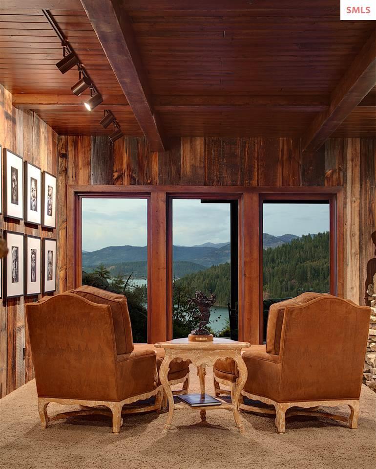 Reclaimed barn wood, natural stone, ultra-fine fur
