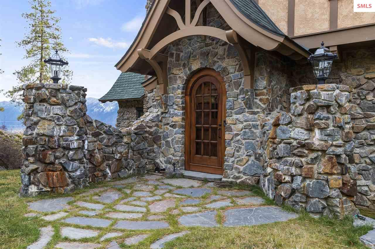 Winding Stone Path Leads to Mahogany Entry Doors