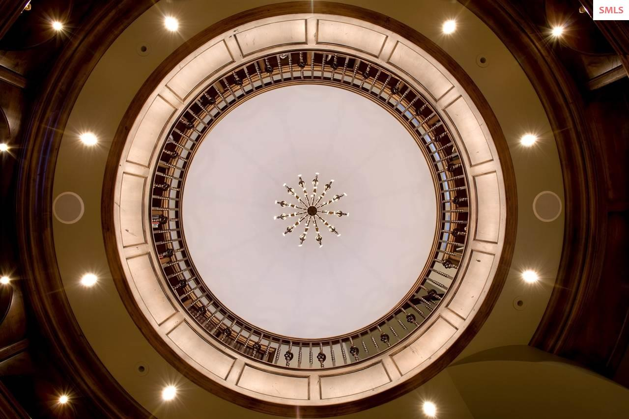 Soaring domed ceiling above the mezzanine over the