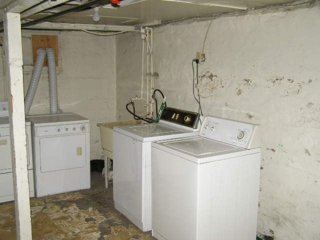 Basement laundry area