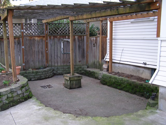 Backyard patio area