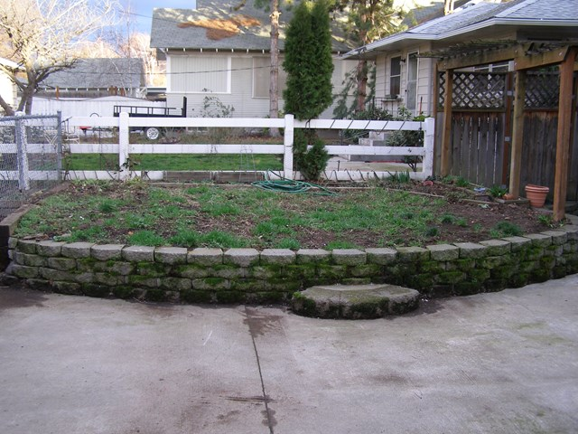 Raised garden space in back