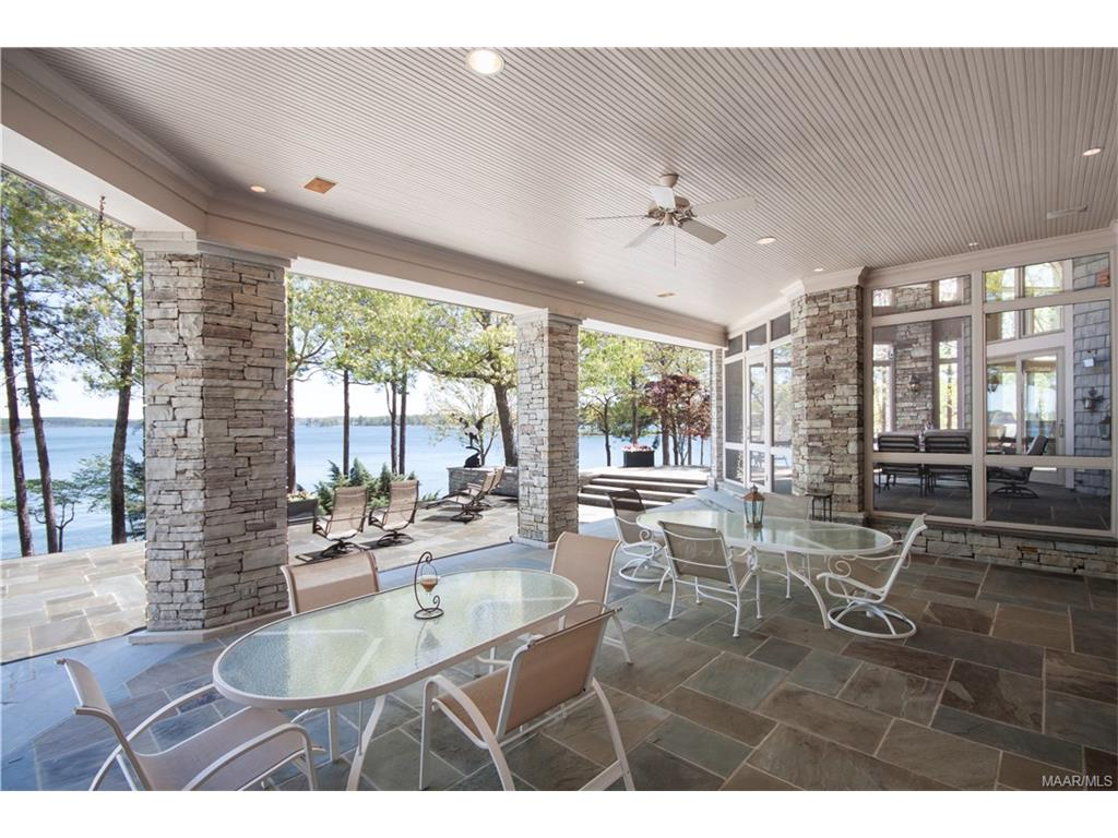 Under the veranda on the Back Patio with Lake view